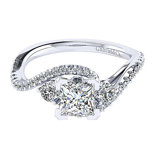 14k White Gold Princess Cut Bypass