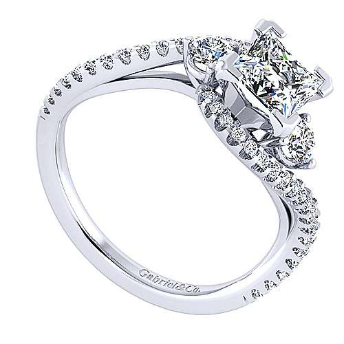 14k White Gold Princess Cut Bypass Engagement Ring angle 3