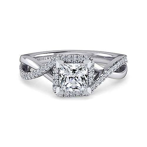 Gabriel - 14k White Gold Princess Cut Criss Cross Engagement Ring