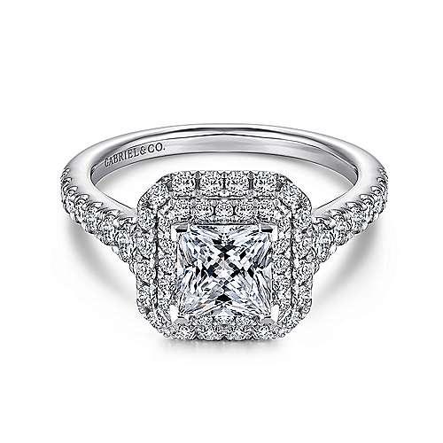 Gabriel - 14k White Gold Princess Cut Double Halo Engagement Ring