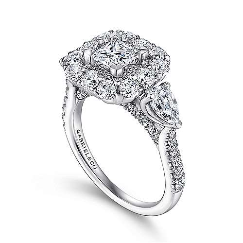 14k White Gold Princess Cut Double Halo Engagement Ring angle 3