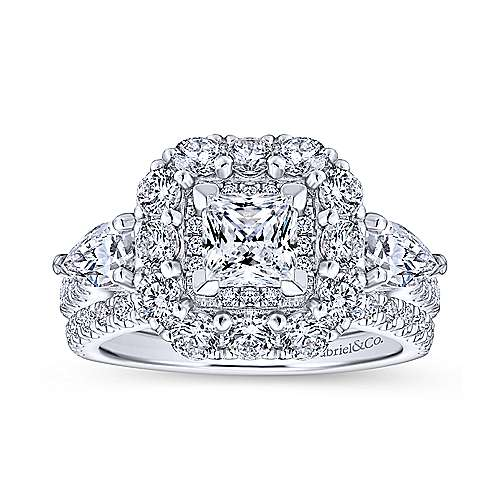 14k White Gold Princess Cut Double Halo Engagement Ring angle 4