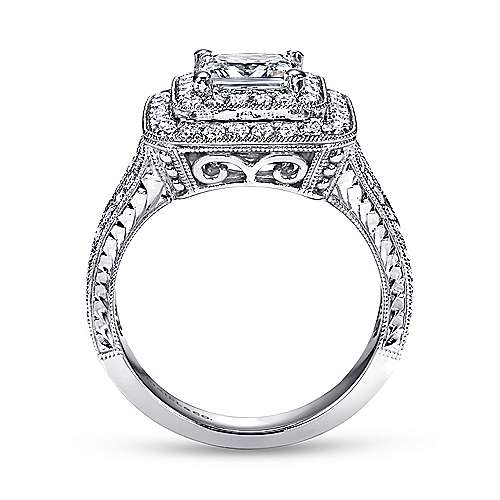 14k White Gold Princess Cut Double Halo Engagement Ring angle 2