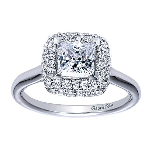 14k White Gold Princess Cut Halo Engagement Ring angle 5