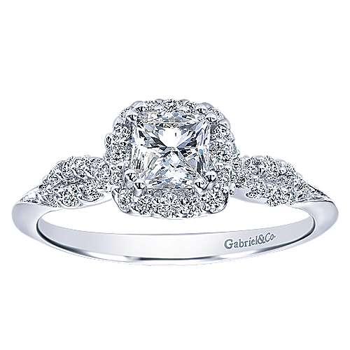 14k White Gold Princess Cut Halo Engagement Ring