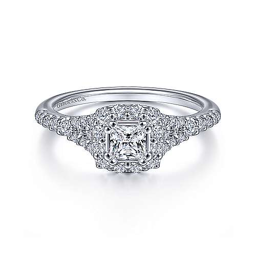 14k White Gold Princess Cut Halo Engagement Ring angle 1