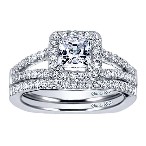 14k White Gold Princess Cut Halo Engagement Ring angle 4