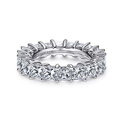 Gabriel - 14k White Gold Princess Cut Shared Prong Eternity Band