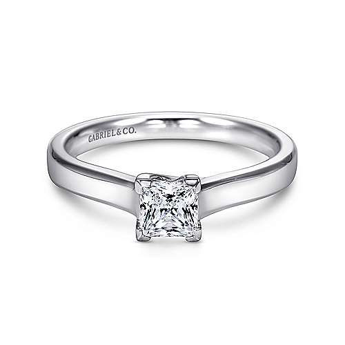 14k White Gold Princess Cut Solitaire