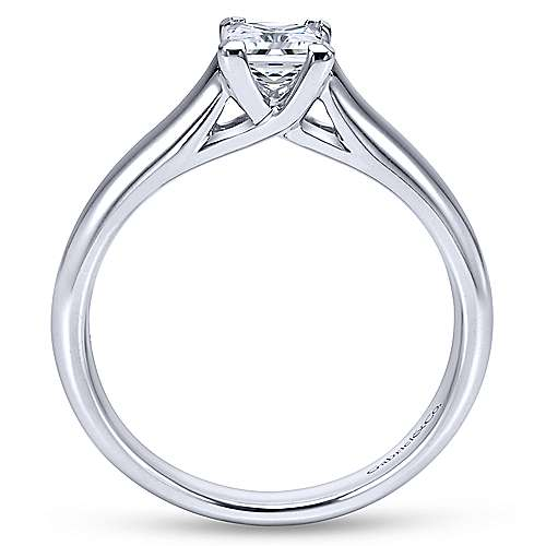 14k White Gold Princess Cut Solitaire Engagement Ring angle 2
