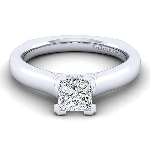 14k White Gold Princess Cut Solitaire Engagement Ring angle 1