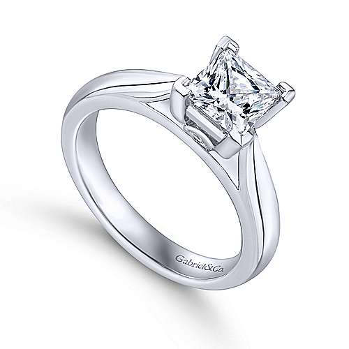 14k White Gold Princess Cut Solitaire Engagement Ring angle 3