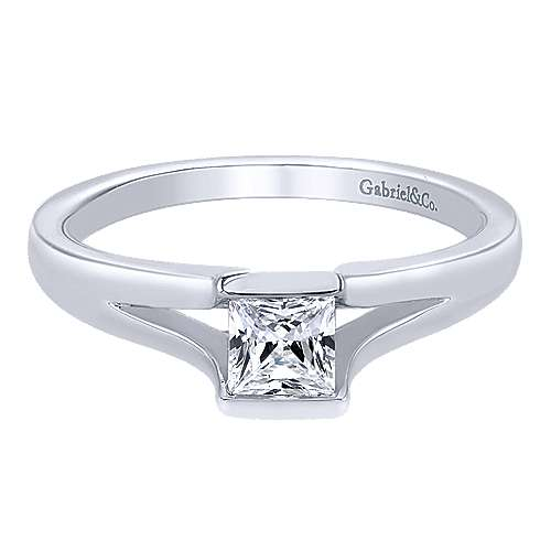 Gabriel - 14k White Gold Princess Cut Solitaire Engagement Ring