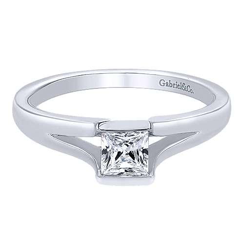 14k White Gold Princess Cut Solitaire