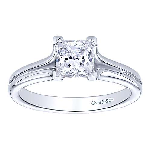 14k White Gold Princess Cut Solitaire Engagement Ring angle 5