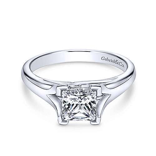 Gabriel - 14k White Gold Princess Cut Split Shank Engagement Ring