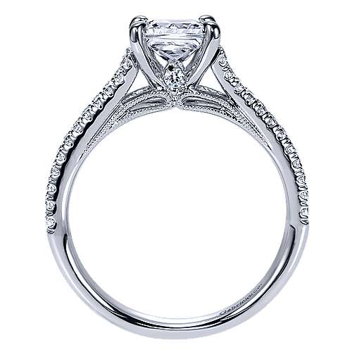14k White Gold Princess Cut Split Shank Engagement Ring angle 2