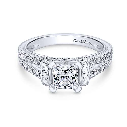 Gabriel - 14k White Gold Princess Cut Split Shank Engagement Ring