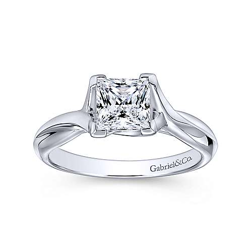 14k White Gold Princess Cut Straight Engagement Ring angle 5