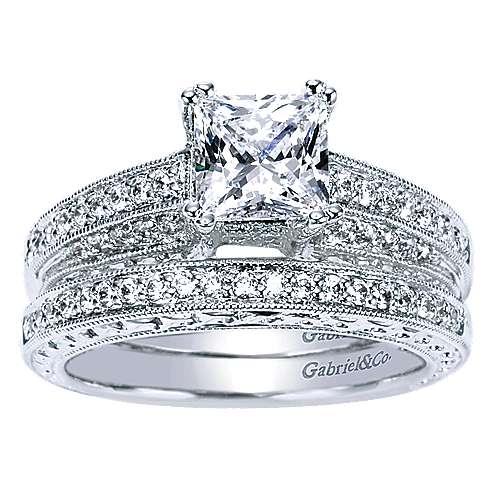 14k White Gold Princess Cut Straight Engagement Ring