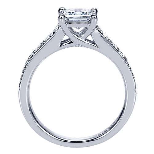 14k White Gold Princess Cut Straight Engagement Ring angle 2