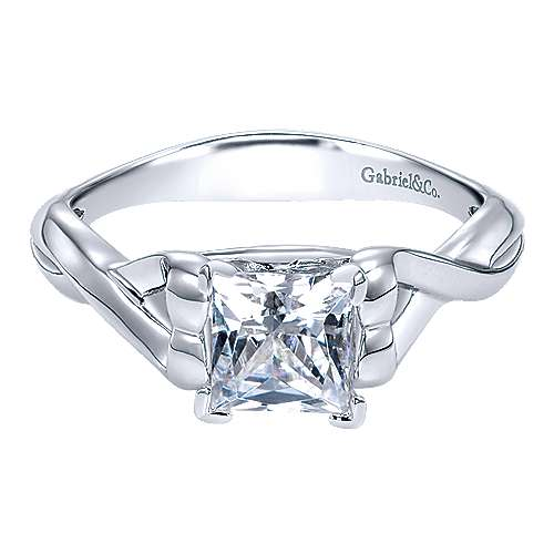 14k White Gold Princess Cut Twisted Engagement Ring angle 1
