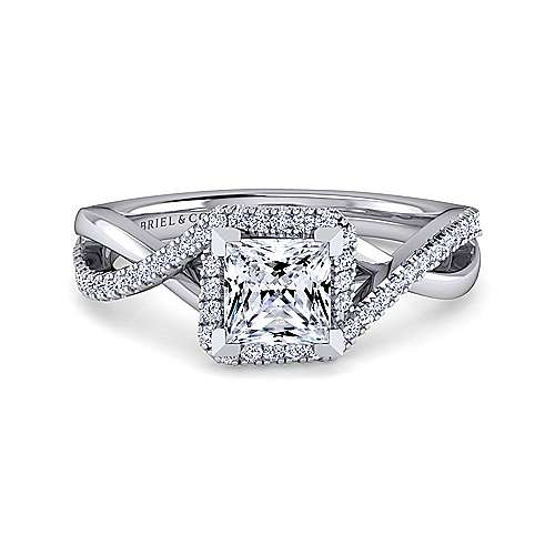 Gabriel - 14k White Gold Princess Cut Twisted Engagement Ring