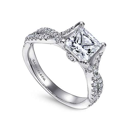 14k White Gold Princess Cut Twisted Engagement Ring angle 3