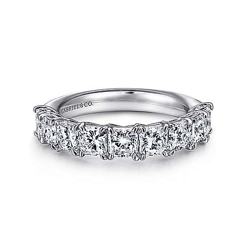 Gabriel - 14k White Gold Radiant Cut 9 Stone Prong Set Diamond Anniversary Band