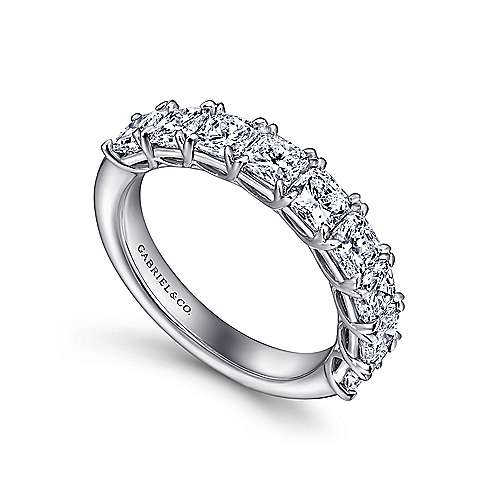 14k White Gold Radiant Cut 9 Stone Prong Set Diamond Anniversary Band