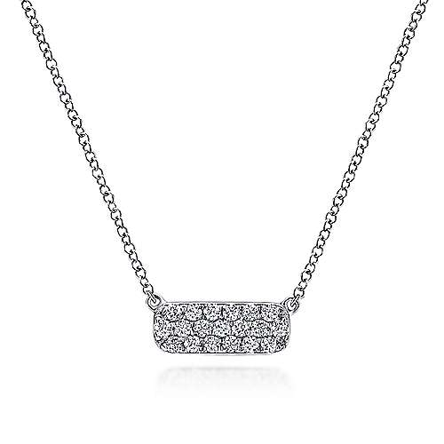 Gabriel - 14k White Gold Rectangular Diamond Bar Fashion Necklace