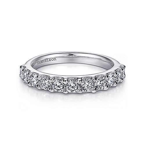 Gabriel - 14k White Gold Round 11 Stone Diamond Anniversary Band