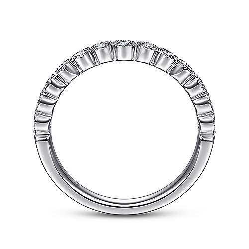14k White Gold Round 13 Stone Diamond Anniversary Band angle 2