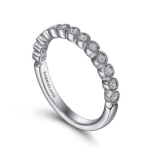 14k White Gold Round 13 Stone Diamond Anniversary Band