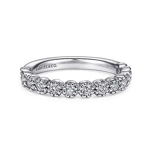 14k White Gold Round 13 Stone Diamond Anniversary Band angle 1