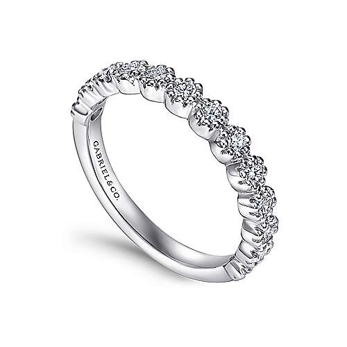 14k White Gold Round 13 Stone Diamond Anniversary Band angle 3