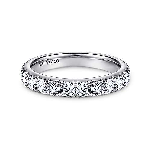 Gabriel - 14k White Gold Round 14 Stone Diamond Anniversary Band