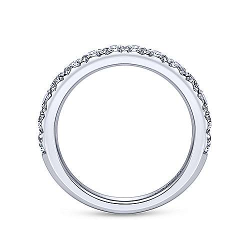 14k White Gold Round 14 Stone Diamond Anniversary Band angle 2