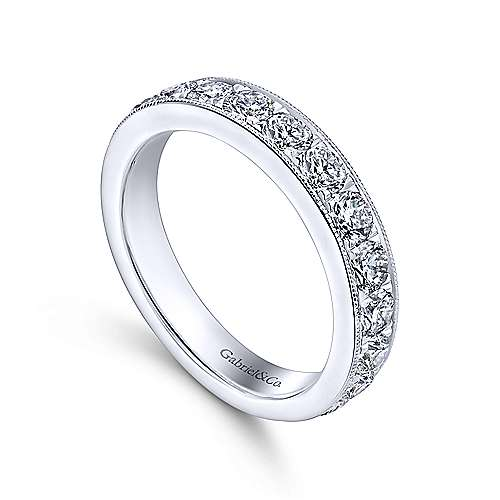 14k White Gold Round 15 Stone Diamond Anniversary Band angle 3