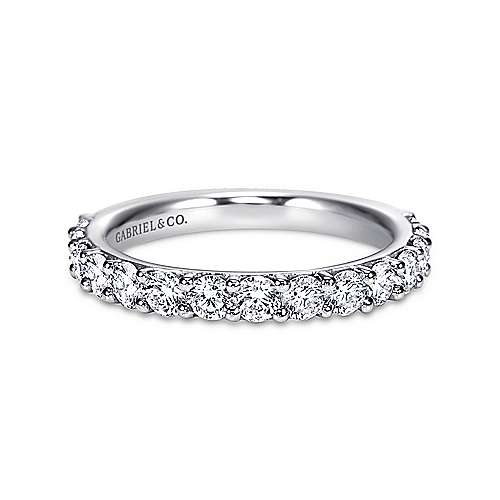 Gabriel - 14k White Gold Round 15 Stone Diamond Anniversary Band