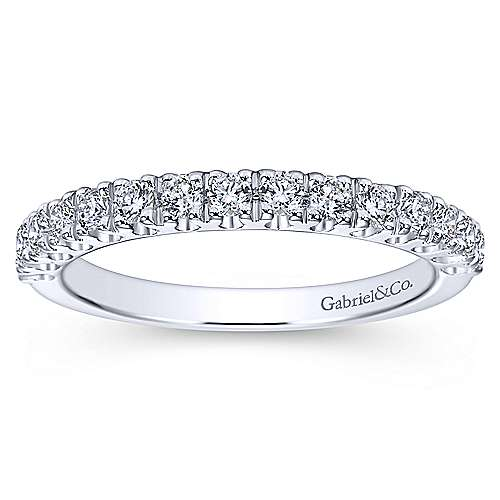 14k White Gold Round 15 Stone Diamond Anniversary Band angle 5