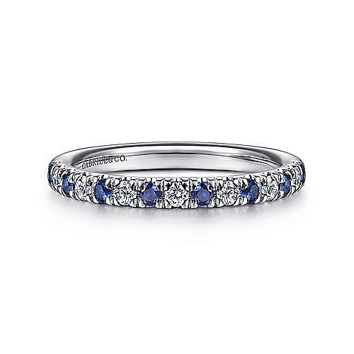 Gabriel - 14k White Gold Round 15 Stone Diamond and Sapphire Anniversary Band