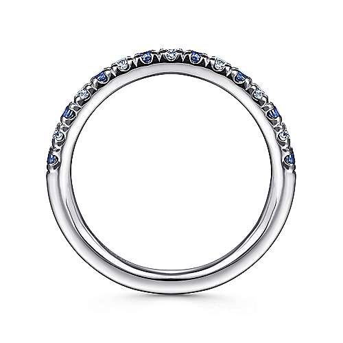14k White Gold Round 15 Stone Diamond and Sapphire Anniversary Band angle 2