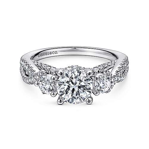 14k White Gold Round 3 Stones Engagement Ring angle 1
