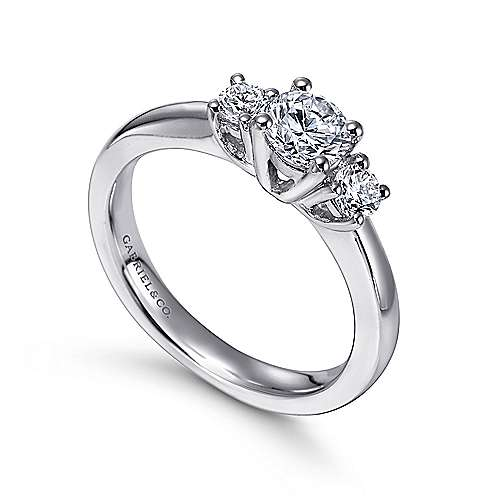 14k White Gold Round 3 Stones Engagement Ring angle 3
