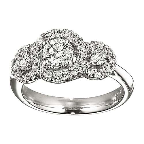 14k White Gold Round 3 Stones halo