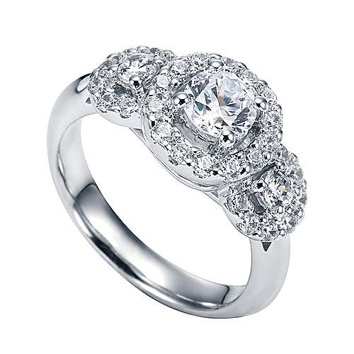 14k White Gold Round 3 Stones Halo Engagement Ring angle 3