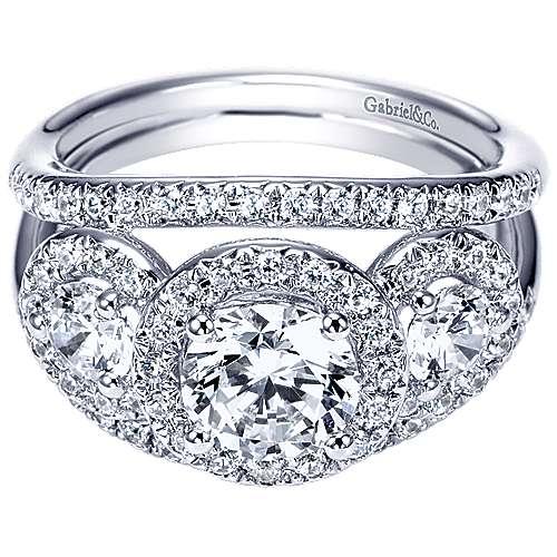 Gabriel - 14k White Gold Round 3 Stones Halo Engagement Ring