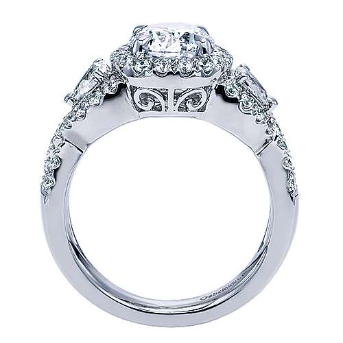 14k White Gold Round 3 Stones Halo Engagement Ring angle 2