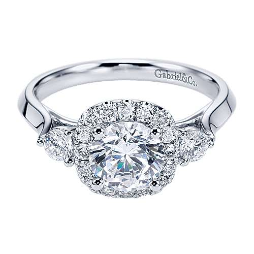 14k White Gold Round 3 Stones Halo Engagement Ring angle 1